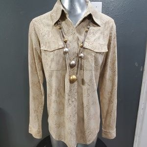 Kate Hill Casual Snake Print Button Up Shirt